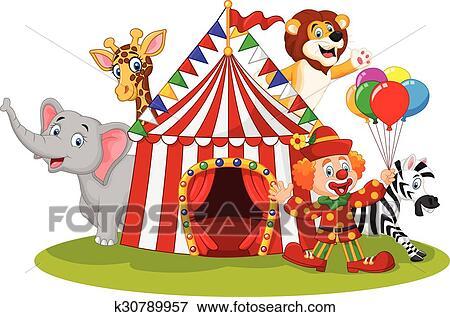 剪贴画 - 卡通漫画, 开心, 动物, 马戏团图片