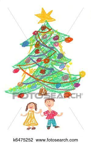 clip art kindern und weihnachtsbaum zeichnung. Black Bedroom Furniture Sets. Home Design Ideas