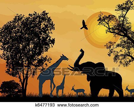 Clipart of Wildlife safari. k6477193 - Search Clip Art ...