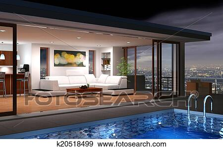 Archivio fotografico moderno casa con stagno for Mobilia arredamento 3d