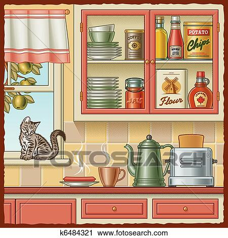 Retro Kitchen With Various Foods And A Kitten On The Windowsill