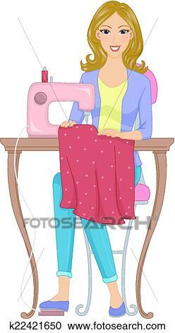 Clipart couturi re k22421650 recherchez des clip arts des illustrations des dessins et des - Dessin couturiere ...