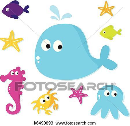 Clipart - caricatura, mar, peces, y, animales, iconos, aislado ...