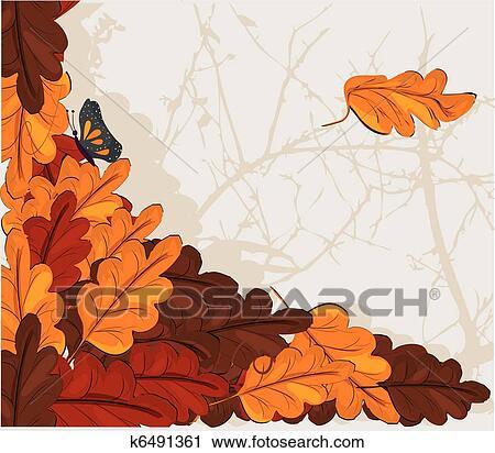 剪贴画 - 橡木树叶
