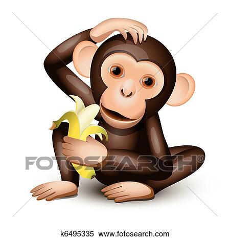 Little Monkey Murals Little Monkey Holding a Banana