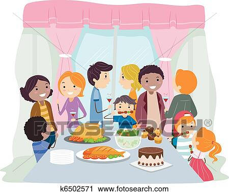 Housewarming Party Drinks And Food Cartoon