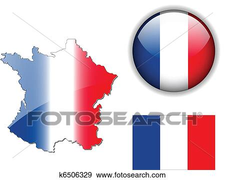 Clipart - drapeau france, carte, bouton, vecteur, ensemble ...