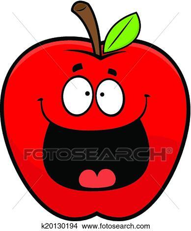 卡通漫画, 描述, 在中, a, 红的苹果, 带, a, 开心, expression.图片