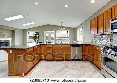 Stockfotografering - luksus, køkken, rum, hos, klar, brun ...