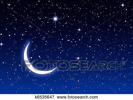 夜晚, 天空, 带, 月亮和星, 理想, 桌面, 或者, 背景图片