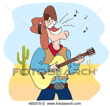 Vector Comic Cartoons Man In Hat And Play A Guitar