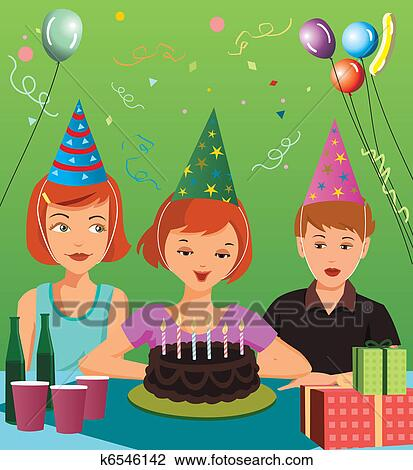 Clip Art of Children at birthday party k6546142 Search Clipart
