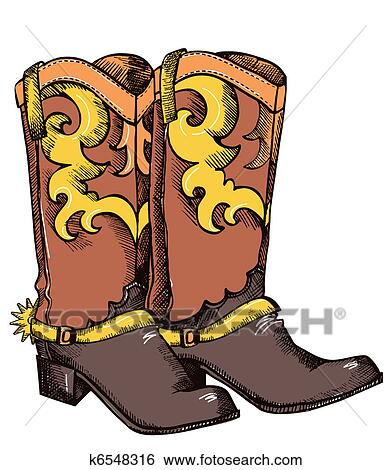 clip of cowboy boots vector graphic image k6548316