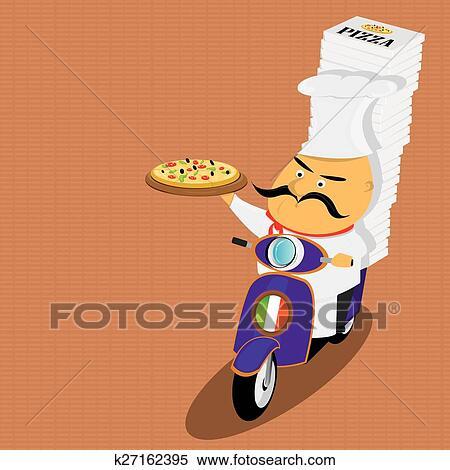 clipart lustig italienischer k chenchef liefern pizza auf moped k27162395 suche clip. Black Bedroom Furniture Sets. Home Design Ideas
