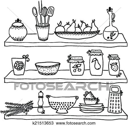 Clipart Of Kitchen Utensils On Shelves Sketch Drawing K21513653
