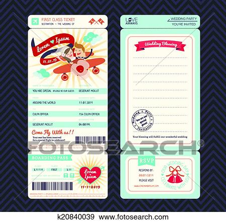 Clip Art Of Cartoon Boarding Pass Ticket Wedding Invitation - Boarding pass wedding invitation template