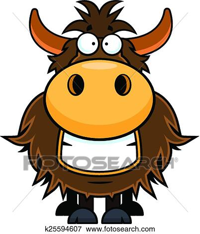 clip art of cartoon yak grinning k25594607 search clipart rh fotosearch com Cartoon Yak yak clipart black and white