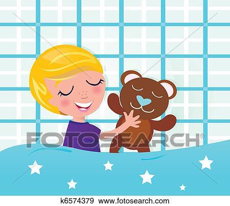clipart mignon dormir et r ver gar on ours teddy k6574379 recherchez des cliparts des. Black Bedroom Furniture Sets. Home Design Ideas
