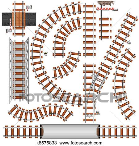 Clipart of Railroad Elements k6575833 - Search Clip Art ...