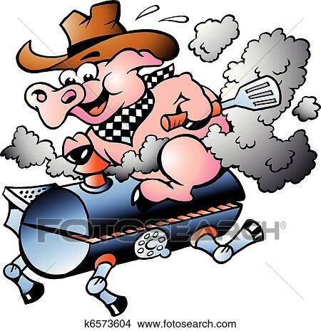 clipart of pig riding on a bbq barrel k6573604 search clip art rh fotosearch com hog roast clipart pig roast clip art pictures