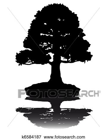 Clip Art of Japanese bonsai tree silhouette k6584187 - Search ...