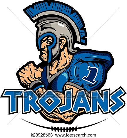 clipart of trojans football k28928563 search clip art rh fotosearch com trojan clipart free trojan clipart free