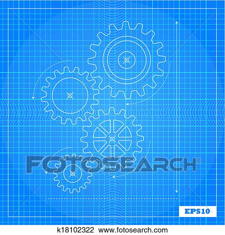 Clipart of blueprint cogs and gears k18102322 search clip art cogs and a blueprint background malvernweather Gallery