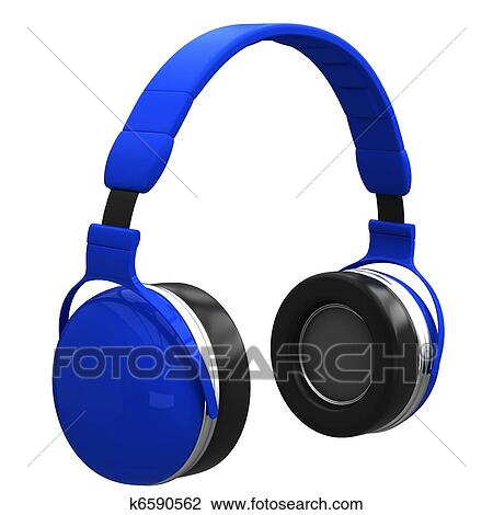 Clip Art of Blue headphones k6590562 - Search Clipart ...