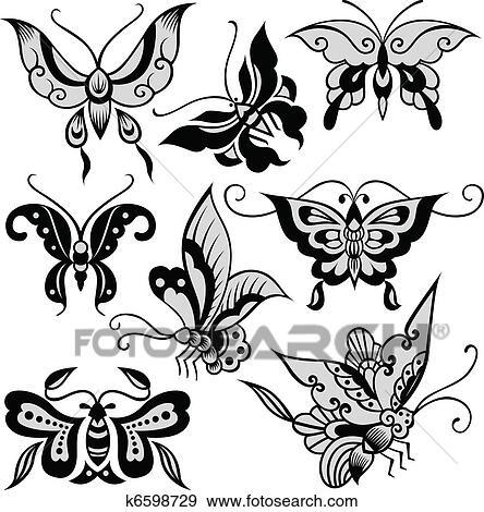 Clipart fantaisie papillon illustration k6598729 recherchez des cliparts des - Dessin d un papillon ...