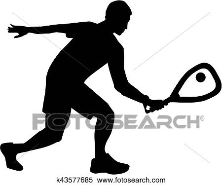 clipart of racquetball silhouette k43577685 search clip art rh fotosearch com  racquetball clip art free