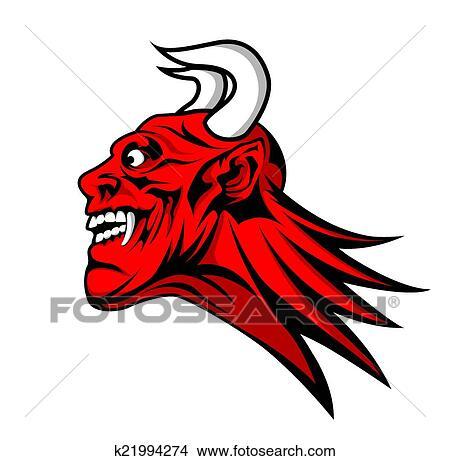 剪贴画 - 魔鬼, 撒旦, 头, 吉祥人