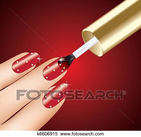 クリップアート(切り張り)イラスト「絵画」集 - 女, 適用, 赤い爪,... 女, 適用, 赤