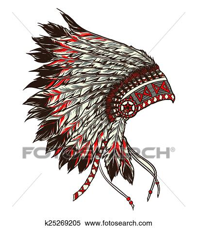 Colorful Indian Headdress Drawings