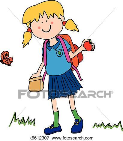 Clip Art - niña, yendo, back to la escuela k6612307 - Buscar Clip ...