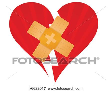 Clip Art Of Broken Heart With A Band Aid K6622017 Search Clipart