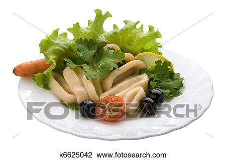 салат с кольцами кальмара фото
