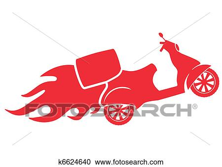 clipart of scooter silhouette fast delivery service symbol rh fotosearch com clipart delivery van clipart delivery box