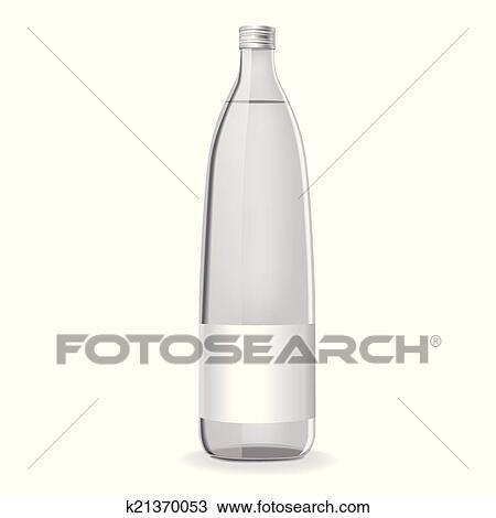 Glas leer clipart  Clipart - glas flasche, mit, wasser, und, leer, etikett k21370053 ...