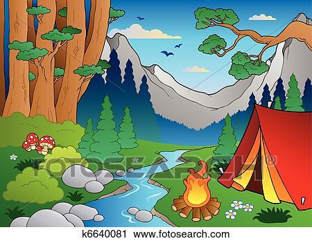 剪贴画 - 卡通漫画, 森林, 风景, 4