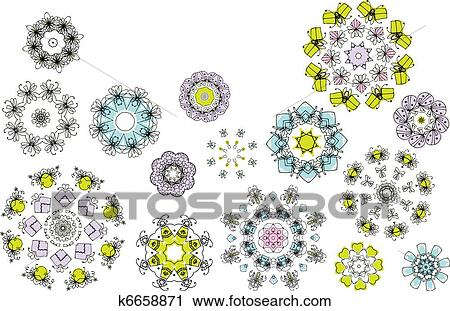 剪贴画 - 几何学, 花,
