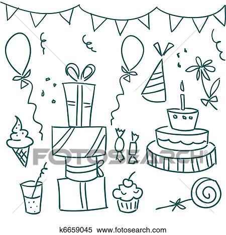 聚会简笔画-失量图库 生日聚会, doodles