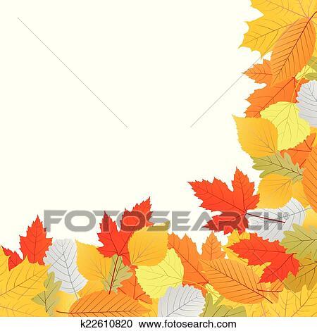 剪贴画 - 秋季树叶, 背景;, 矢量图片