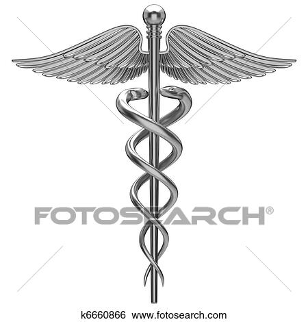 Stock Illustration Of Silver Caduceus Medical Symbol K6660866