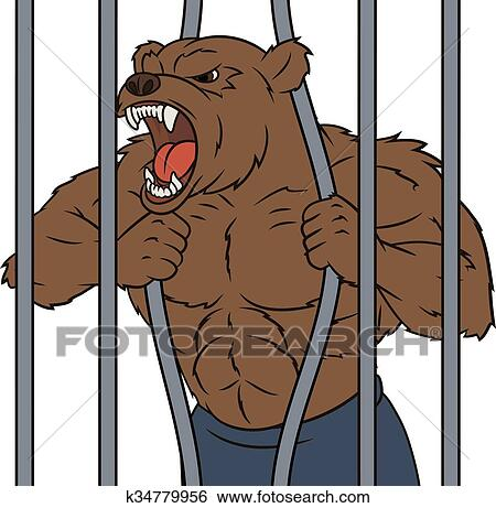 Clip Art of Angry bear in cage 2 k34779956 - Search ...