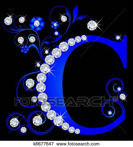 大写字母 c 蓝色