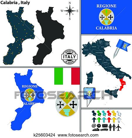 Clipart of Map of Calabria Italy k25603424 Search Clip Art