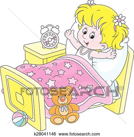 clip art of girl waking up k28041146 search clipart illustration rh fotosearch com Strong Woman Clip Art Strong Woman Clip Art