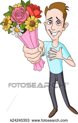 Clipart homme donner bouquet fleur k24245353 for Bouquet de fleurs homme