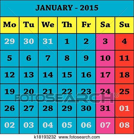Clipart 2015 gennaio calendario iso 8601 k18193232 for Clipart calendario