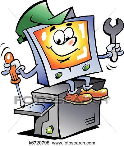 clip art of computer repair mascot k6720798 search clipart rh fotosearch com Computer Repair Art computer repair clipart free